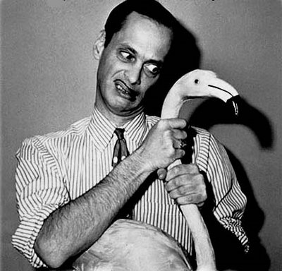 john waters with flamingo